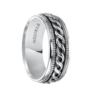 Triton Ring Sterling Silver Cast Woven Comfort Fit Band with Black Oxidation