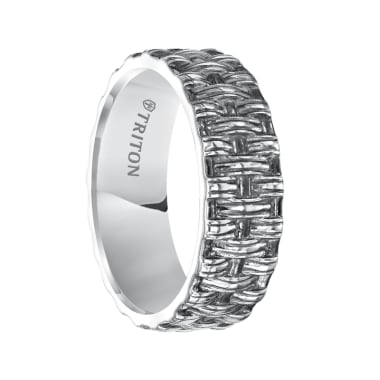 Triton Ring Sterling Silver Cast Woven Center with Milgrain Comfort Fit Band with Black Oxidation