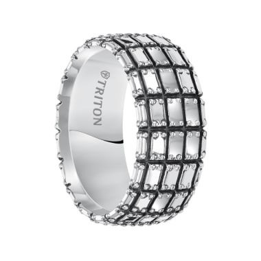 Triton Ring 10mm Sterling Silver Cast Comfort Fit Band with Black Oxidation