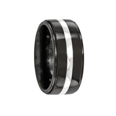 Edward Mirell Ring 10mm Black Titanium & Sterling Silver Inlay Band