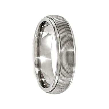 Edward Mirell Titanium w//14k White Gold Textured Lines 7.5mm Band