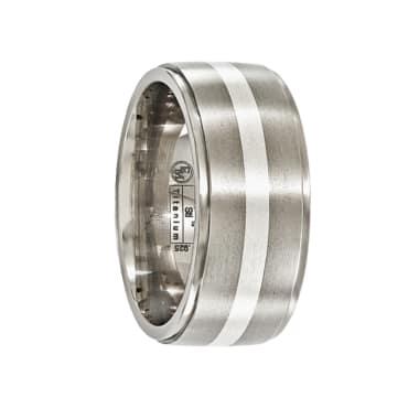 Edward Mirell Ring 10mm Gray Titanium Band Sterling Silver Inlay