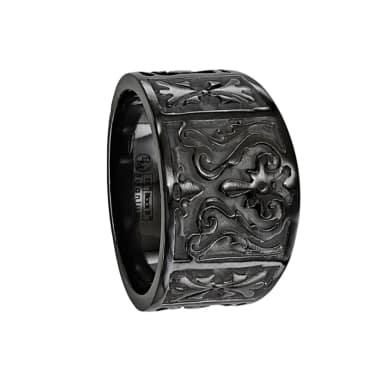 Edward Mirell Ring 14mm Black Titanium Flat Casted Design