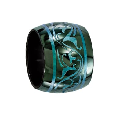 Edward Mirell Ring 16mm Domed Black Titanium Ring with Anodized Teal Design