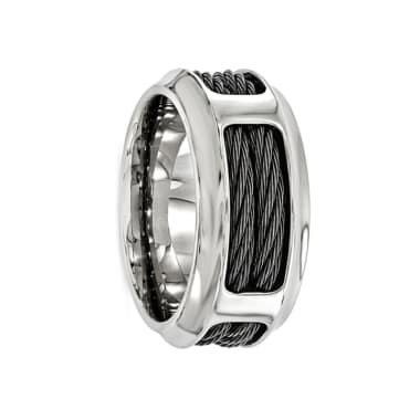Edward Mirell Ring 10.75mm Titanium Ring with Steel Cable Band