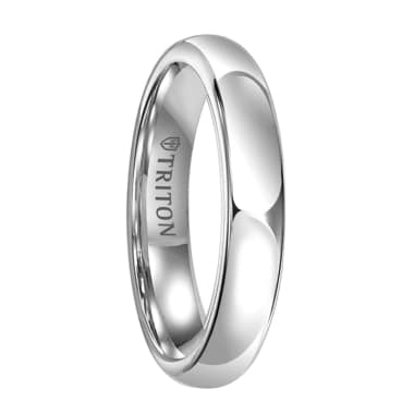 Triton Ring 4mm & 5mm White Tungsten Bright Polish Domed Comfort Fit Band