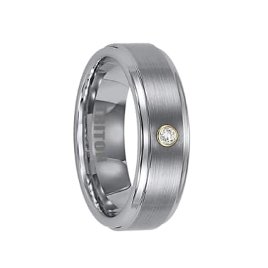 Triton Ring 7mm Tungsten carbide Step Edge satin finish comfort fit band with 18k White Gold Bezel set diamonds