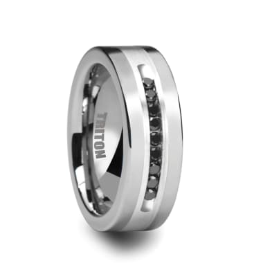 Triton Ring 8mm Bright Polished Tungsten Carbide Comfort Fit band with Brush Finish Silver Inlay and 1/4 carat of Channel Set Black Diamonds