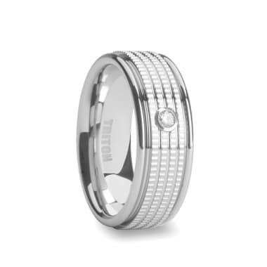 Triton Ring 7.5mm White Tungsten Wedding Band with White Diamond and Multi Coin Edged Center