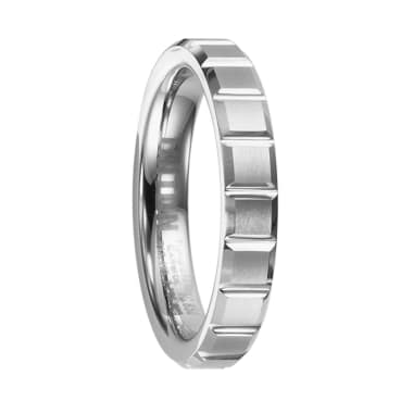 Triton Ring 4mm Women's Beveled Tungsten Ring with Brush Finished Center and Horizontal Cuts