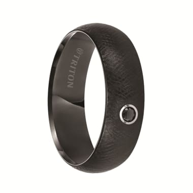 Triton Ring 7mm Black Tungsten Domed Comfort Fit Black Diamond Band with Florentine Finish