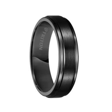 Triton Ring 6mm Black Tungsten Carbide Satin Finish Flat Center with Bright Step Edge Comfort Fit Band