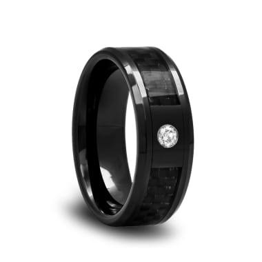 Black Ceramic Diamond Wedding Band with Carbon Fiber Inlay and Beveled Edges