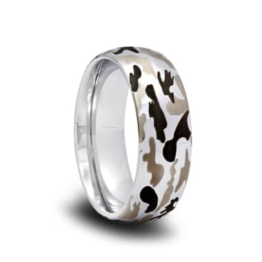 Domed Camo Tungsten Wedding Band with Gray and Brown Camoflauge Patterns