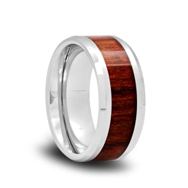 Tungsten Wedding Band with Koa Wood Inlay and Polished Beveled Edges
