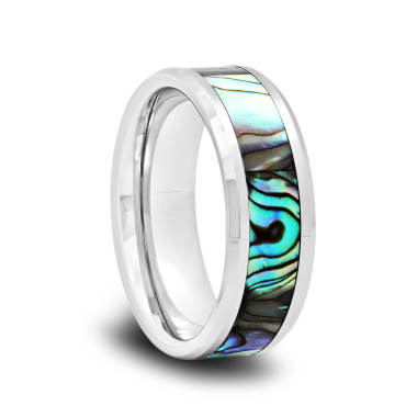 Tungsten Wedding Band with Mother of Pearl Inlay and Polished Beveled Edges