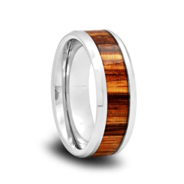 Tungsten Wedding Band with Zebra Wood Inlay and Polished Beveled Edges