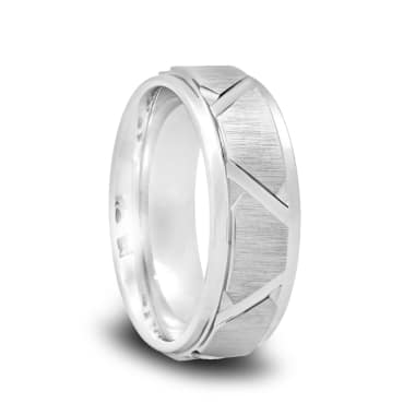 Tungsten Wedding Band with a Brushed Tire Grooves and a Raised Center