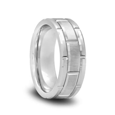 Tungsten Wedding Band with a Brushed Center and Alternating Grooves