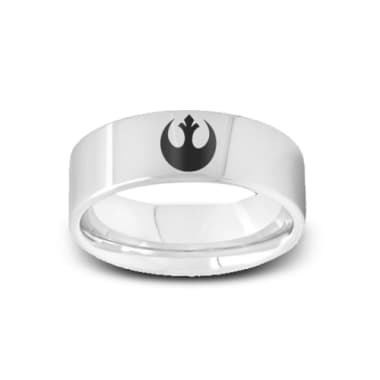 SW-002 - Polished Pipe Cut Tungsten Ring with Star Wars Rebel Alliance Symbol