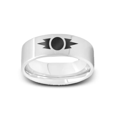 SW-007 - Polished Pipe Cut Tungsten Ring with Star Wars Sith Emblem