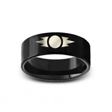 SWB-007 - Polished Pipe Cut Black Tungsten Ring with Star Wars Sith Emblem