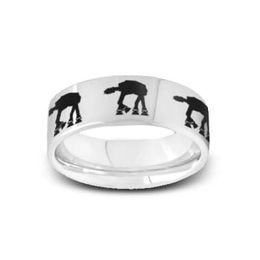 SW-008 - Polished Pipe Cut Tungsten Ring with Star Wars Walking At-at Symbol