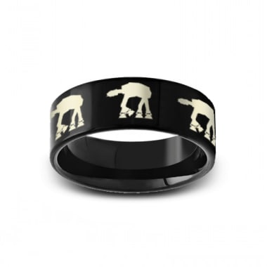 SWB-008 - Polished Pipe Cut Black Tungsten Ring with Star Wars Walking At-at