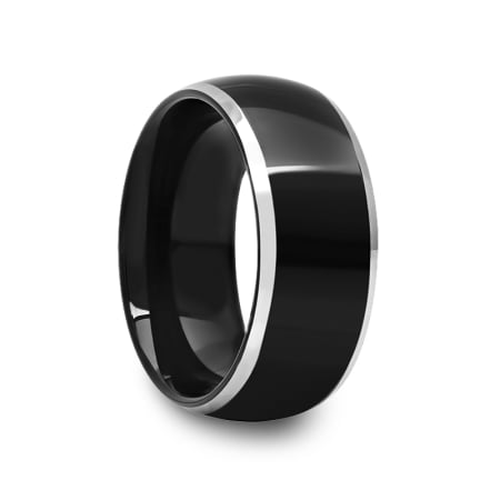 Mens Two Tone Black Tungsten Carbide Ring