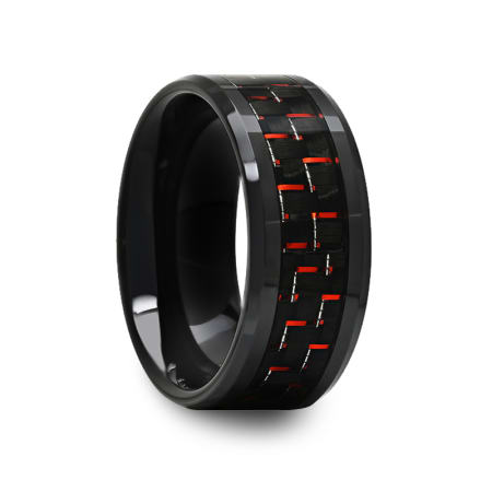 Black Ceramic Beveled Ring with Red and Black Carbon Fiber Inlay