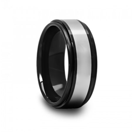 Black Ceramic Raised Center Ring with Tungsten Carbide Inlay