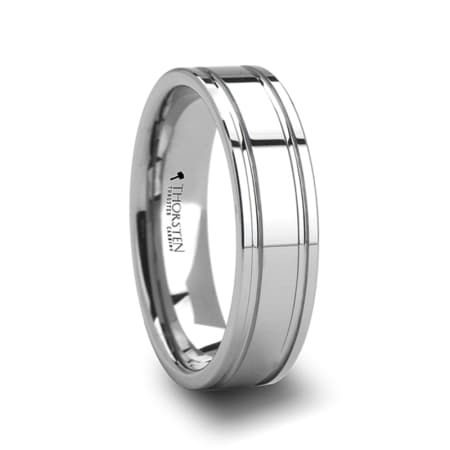 ANCHORAGE Tungsten Carbide Ring with Dual Offset Grooves- 6mm & 8mm
