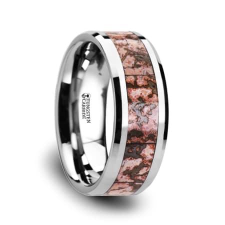 ARCHEAN Pink Dinosaur Bone Inlaid Tungsten Carbide Beveled Edged Ring - 4mm & 8mm
