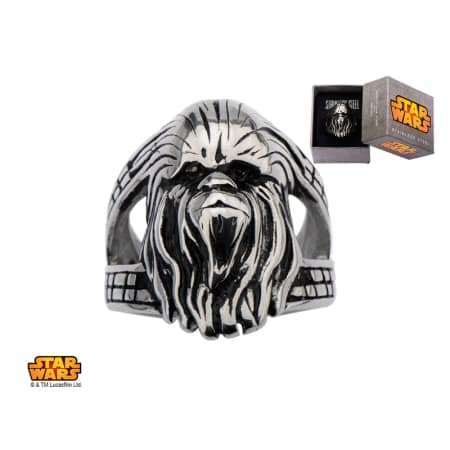 SW-006 - Polished Pipe Cut Tungsten Ring with Star Wars Chewbacca