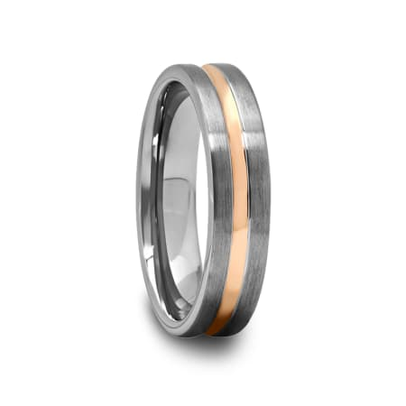 Brushed Tungsten Ring with Rose Gold Plated Groove 4 mm