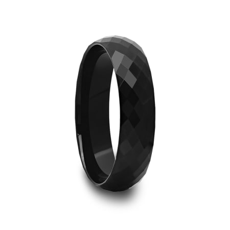 Multi Diamond Faceted Black Tungsten Carbide Ring 4 mm