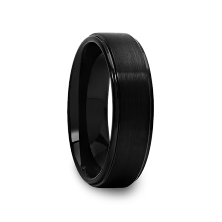 Black Tungsten Ring with Raised Brushed Center