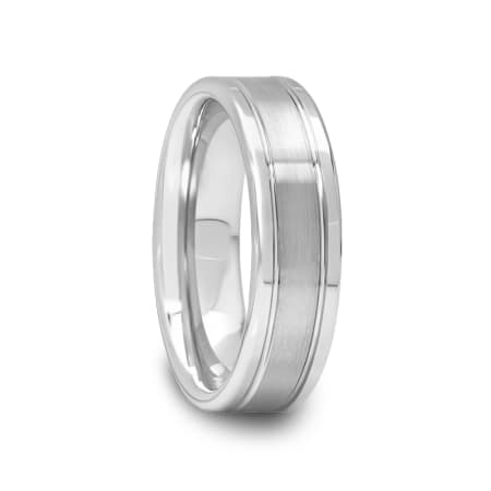 Brushed Center Tungsten Ring with Wide Polished Edges