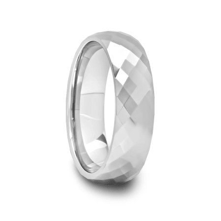 Mens Multi Diamond Faceted Tungsten Carbide Ring
