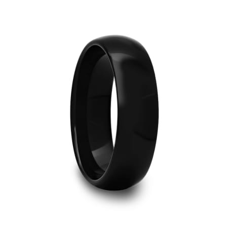 Round Polished Black Tungsten Carbide Ring