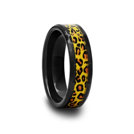 Black Ceramic Ring with Cheetah Inlay