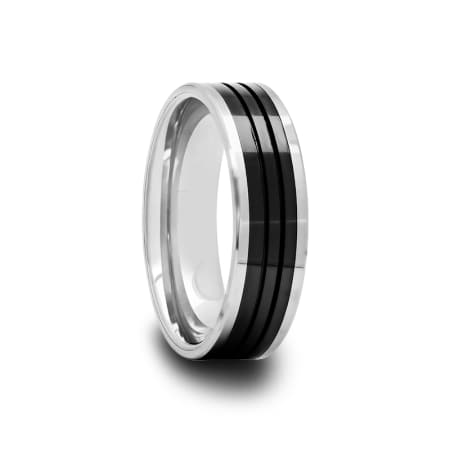 Mens Tungsten Carbide Ring with Black Ceramic Inlay