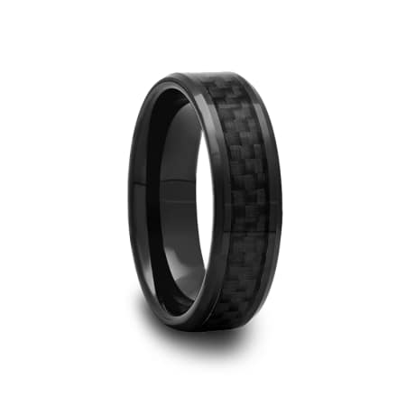 Black Ceramic Beveled Edged Ring with Black Carbon Fiber Inlay