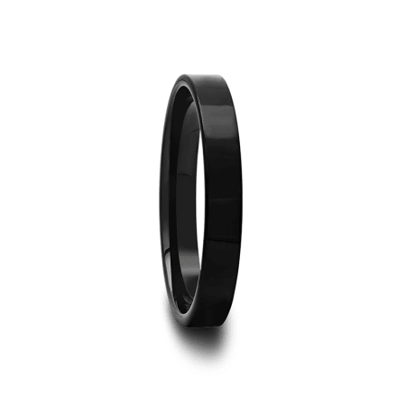 Polished Pipe Cut Black Tungsten Carbide Ring 2 mm