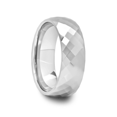 Mens Multi Diamond Faceted Tungsten Carbide Ring