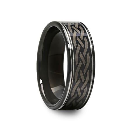Mens Celtic Engraved Design Black Tungsten Carbide Ring