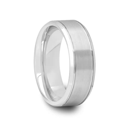 Grooved Beveled Tungsten Ring with Brushed Center