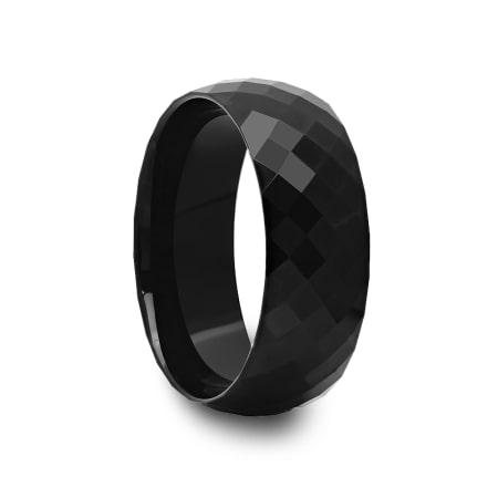 Multi Diamond Faceted Black Tungsten Carbide Ring
