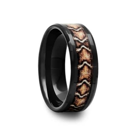 Black Ceramic Ring with Snake Inlay
