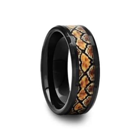 Black Ceramic Ring with Boa Snake Inlay